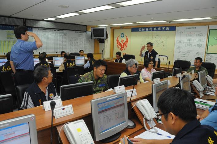 雲林縣災害應變中心23日上午9時召開第2次工作會議,由秘書長許義豐主持