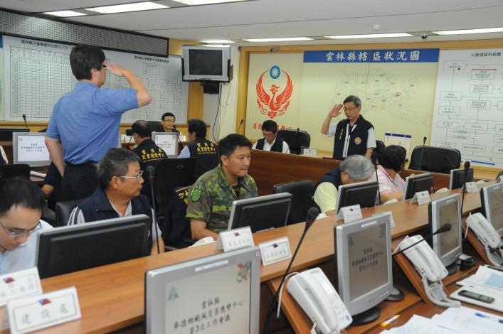 雲林縣災害應變中心23日下午3時召開第3次工作會議,由秘書長許義豐主持