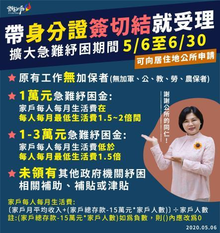 帶身份證簽切結就受理  擴大急難紓困期間 5月6日至6月30日