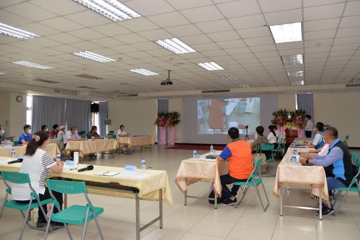 4日雲林縣水患自主防災社區成果座談會,因疫情以視訊方式進行,防汛防疫同步演練。