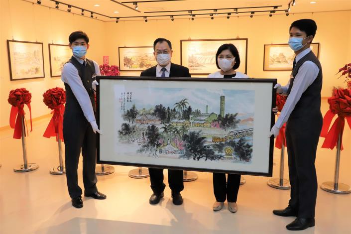 警界儒將蔡俊章博士水墨畫展開幕, 捐贈「虎尾故鄉」畫作給雲林縣政府典藏。