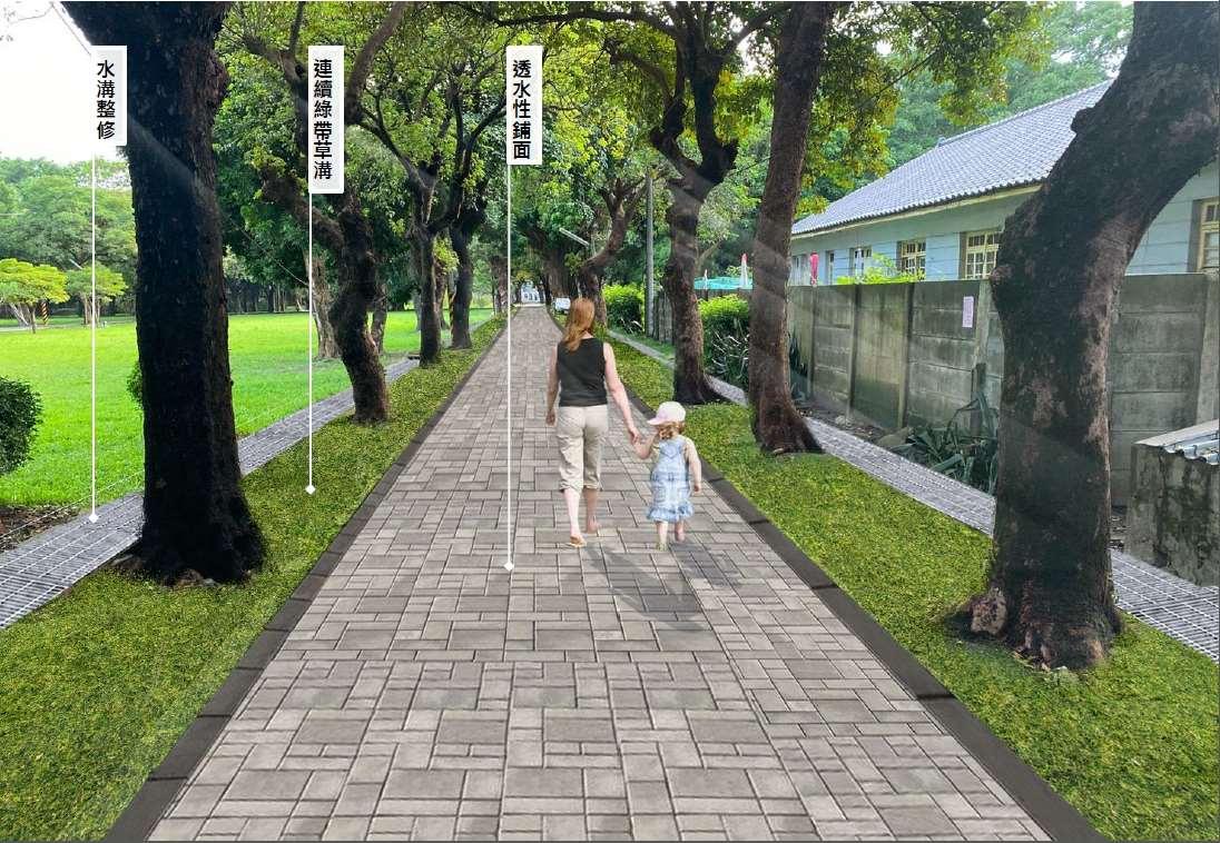 施工示意圖-增加根系成長空間  改善人行路面平整