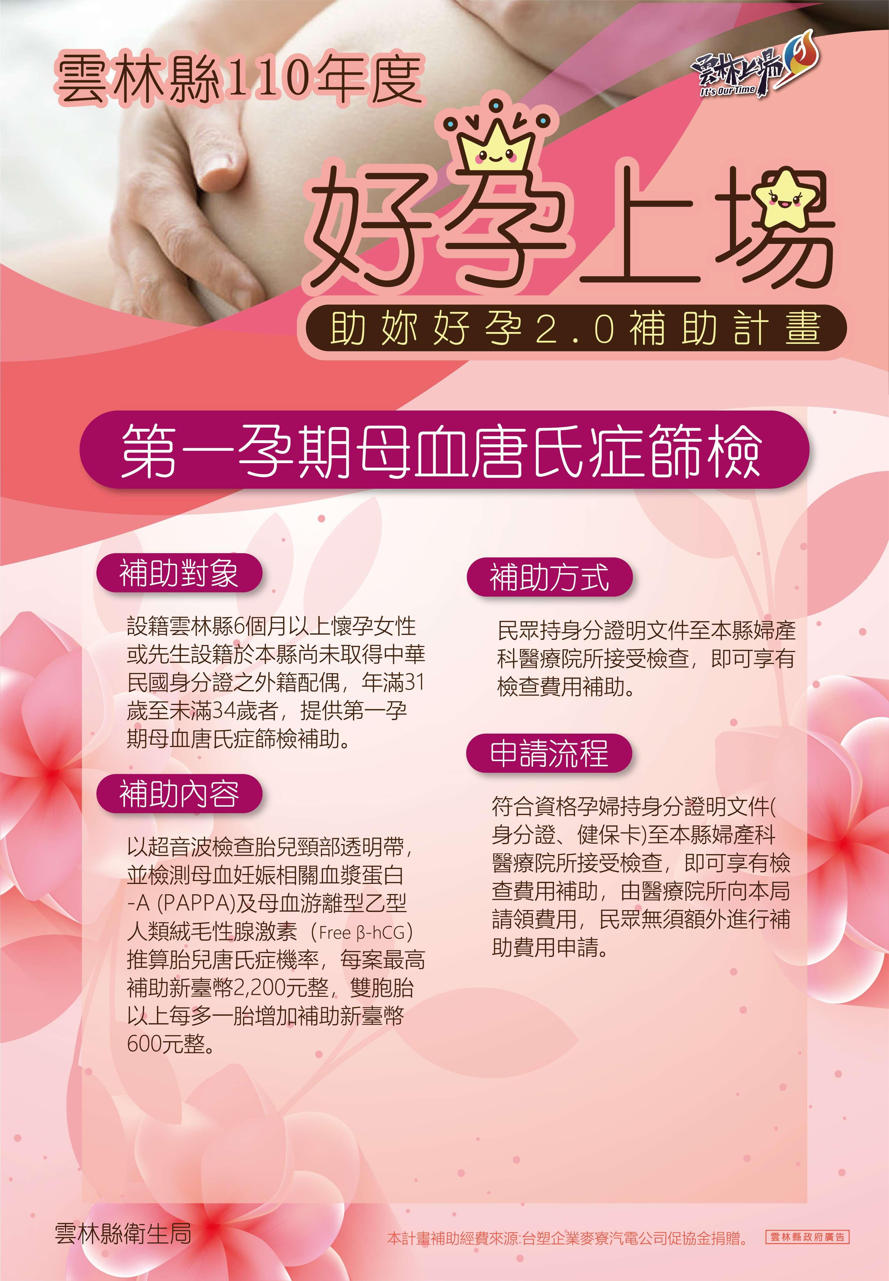 110年度 - 好孕上場(第一孕期母血唐氏症篩檢)海報