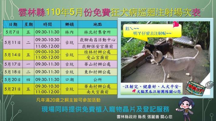 110年5月份狂犬病巡迴注射場次表