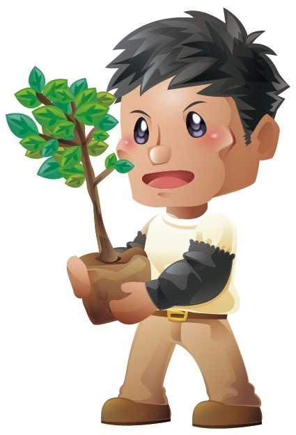 林業人員拿著植栽