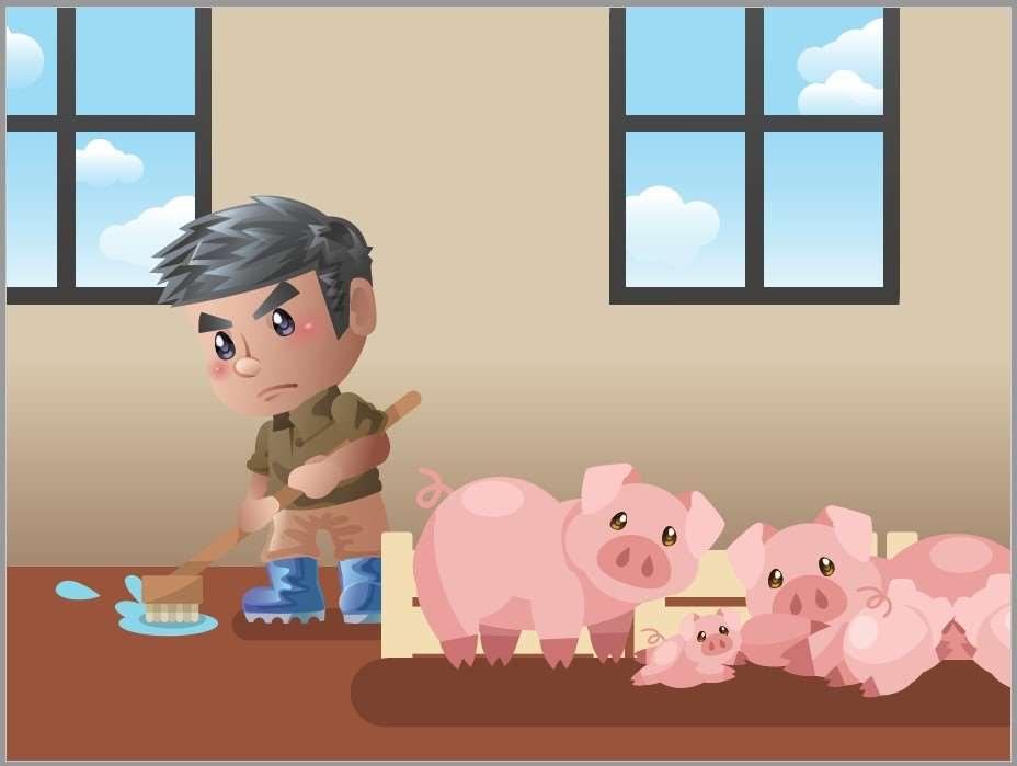 畜牧人員清掃豬舍