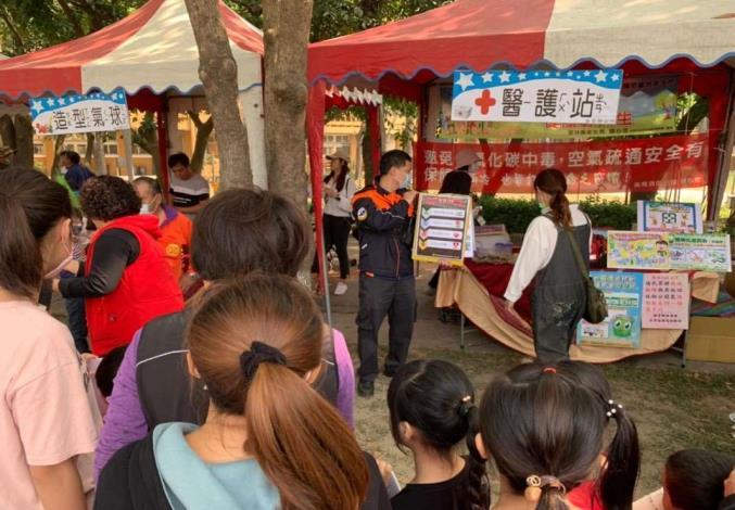 雲林縣消防局第二大隊崙背分隊辦理崙背國中兒童節表揚及音樂野餐會宣導-CPR宣導
