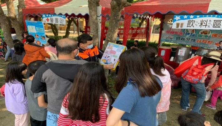 雲林縣消防局第二大隊崙背分隊辦理崙背國中兒童節表揚及音樂野餐會宣導-宣導過程