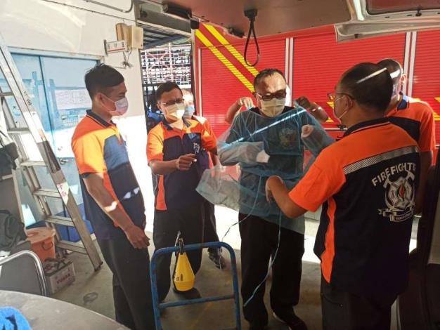雲林縣消防局第一大隊斗南分隊辦理「防護衣穿脫及消毒流程」教育訓練
