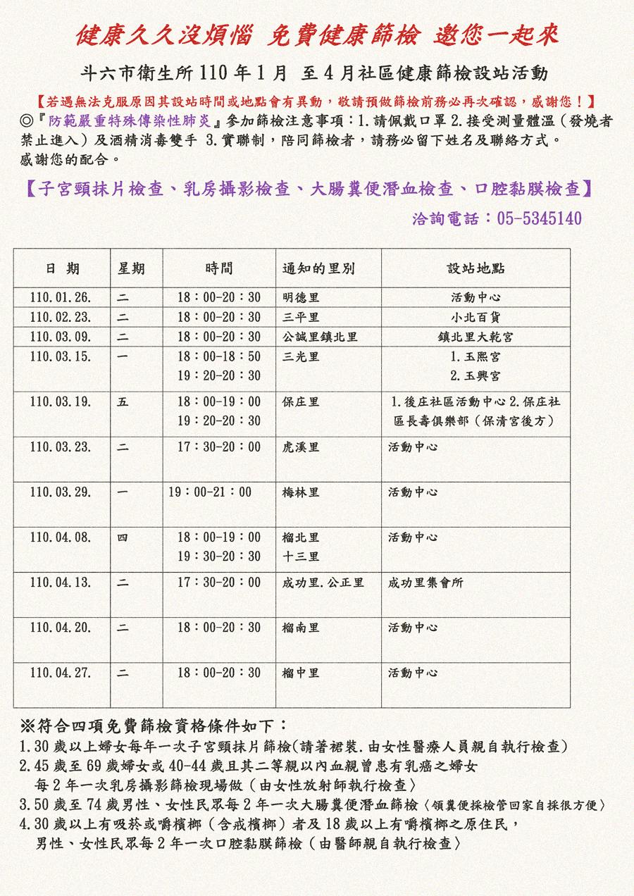 110年1-4月社區四癌篩檢(乳癌、子宮頸癌、大腸癌與口腔癌)行程表001