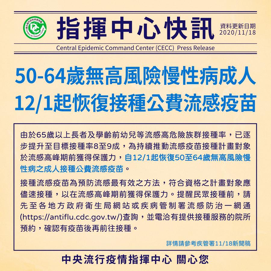 自109年12月1日起恢復50至64歲無高風險慢性病之成人接種公費流感疫苗   【斗六巿衛生所關心您】